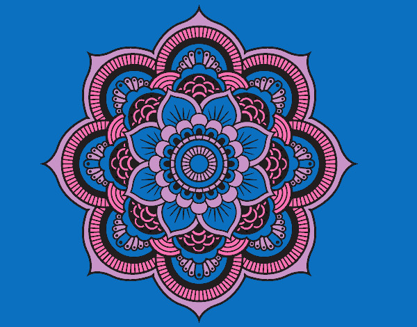 Colored Page Mandala Oriental Flower Painted By DivaB