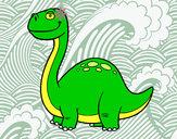 Coloring page Diplodocus Dinosaur painted bygerome