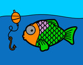 Coloring page Fish about to take the fish hook painted byNate