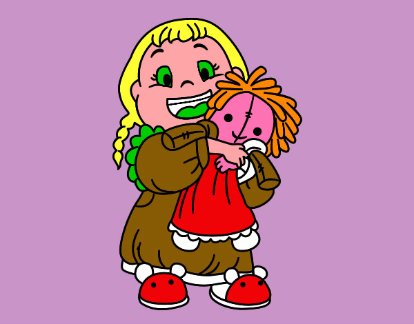 Coloring page Little girl with her doll painted byNate