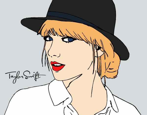 taylor swift with hat - Taylor Swift Coloring Pages