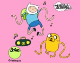 Coloring page Finn and Jake listening to music painted bybarbie_kil
