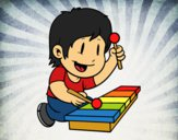 Coloring page Children with xylophone painted byShelbyGee