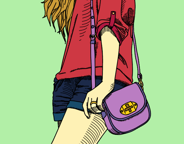 Coloring page Girl with handbag painted byShelbyGee