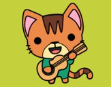 Coloring page Guitarist cat painted byShelbyGee