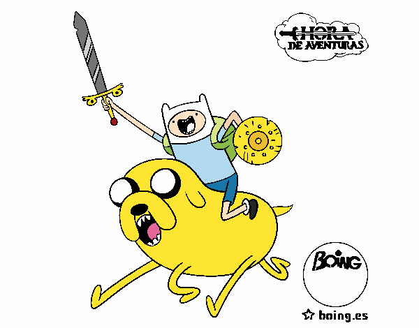 Coloring page Jake and Finn to attack painted byShelbyGee