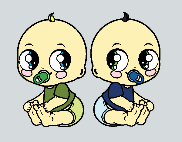 Coloring page Twin babies painted byShelbyGee