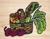 Coloring page Basket of vegetables painted bybarbie_kil