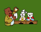 Coloring page Bear teacher and his students painted bybarbie_kil