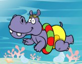 Coloring page Hippo swimming painted bybarbie_kil