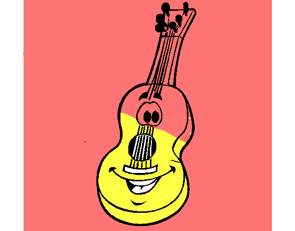 Colored page Spanish guitar painted