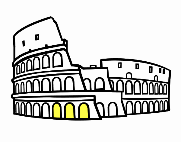 roma para colorear dibujo coliseo romano para colorear