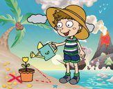 Coloring page Boy watering painted byLala B