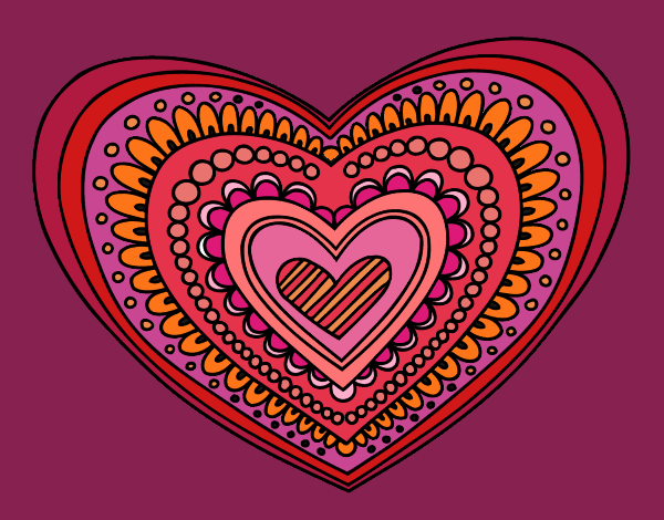 colored page heart mandala painted by cici