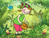 Coloring page Little girl watering painted byLala B