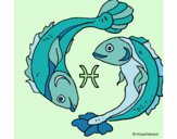 Coloring page Pisces painted bylilarn97