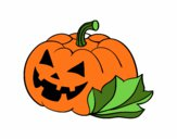 Coloring page Decorated halloween pumpkin painted byjody