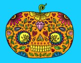 Coloring page Day of the dead Pumpkin  painted byweezy