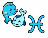 Coloring page Pisces horoscope painted bybubica
