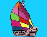 Coloring page Sailing boat painted byleslie
