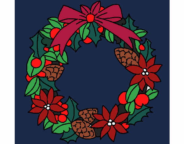 wreath of christmas flowers colored by www coloringcrew com