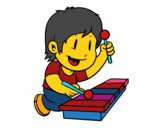 Children with xylophone