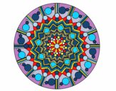 Coloring page Mandala flower with circles painted bytwist