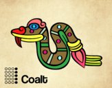Coloring page The Aztecs days: the Snake Coatl painted byCrafterela