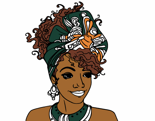 Colored page an african woman painted by user not registered for African culture coloring pages