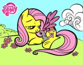 Coloring page Fluttershy with a little rabbit painted byjessica88