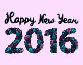 Coloring page Happy New Year 2016 painted byTheColor