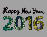 Coloring page Happy New Year 2016 painted byLilypop