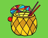 Coloring page Cocktail pineapple painted bymindella