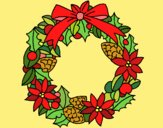 Coloring page Wreath of Christmas flowers painted bysuzie