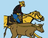 Coloring page Cowboy and cow painted byCharlotte