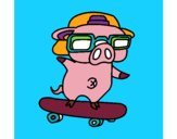 Coloring page Graffiti the pig on a skateboard painted bymindella
