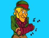 Coloring page Leprechaun with accordion painted bymindella
