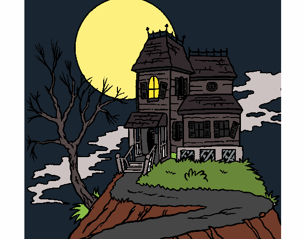 Colored Page Haunted House Painted By User Not Registered