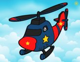 Coloring page Helicopter with a star painted byCharlotte