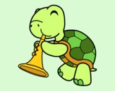 Coloring page Turtle with trumpet painted byLinds