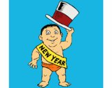 Coloring page Baby New Year painted bymindella