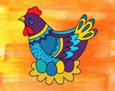 Coloring page Hen with Easter eggs painted byCharlotte