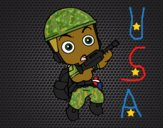 Coloring page Military soldier painted byCharlotte