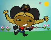 Coloring page Joyful cowgirl painted byCharlotte
