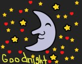 Coloring page Moon with stars painted byCharlotte