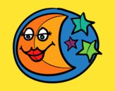 Coloring page Waning moon painted bymindella