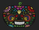 Coloring page Day of the dead Pumpkin  painted byKArenLee