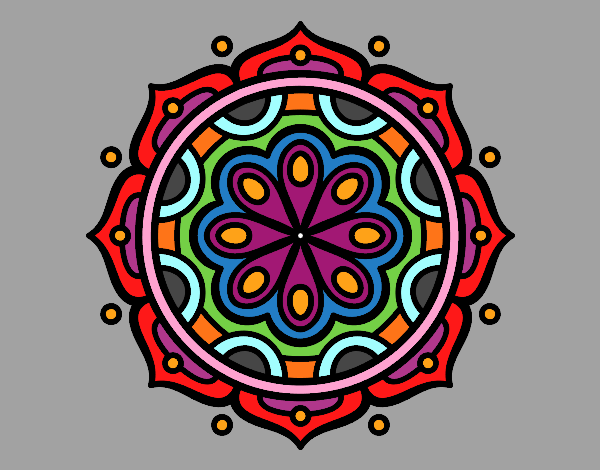 Coloring page Mandala to meditate painted byKArenLee