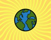 Coloring page The planet Earth painted byCharlotte