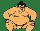 Coloring page Furious sumo wrestler painted byKArenLee